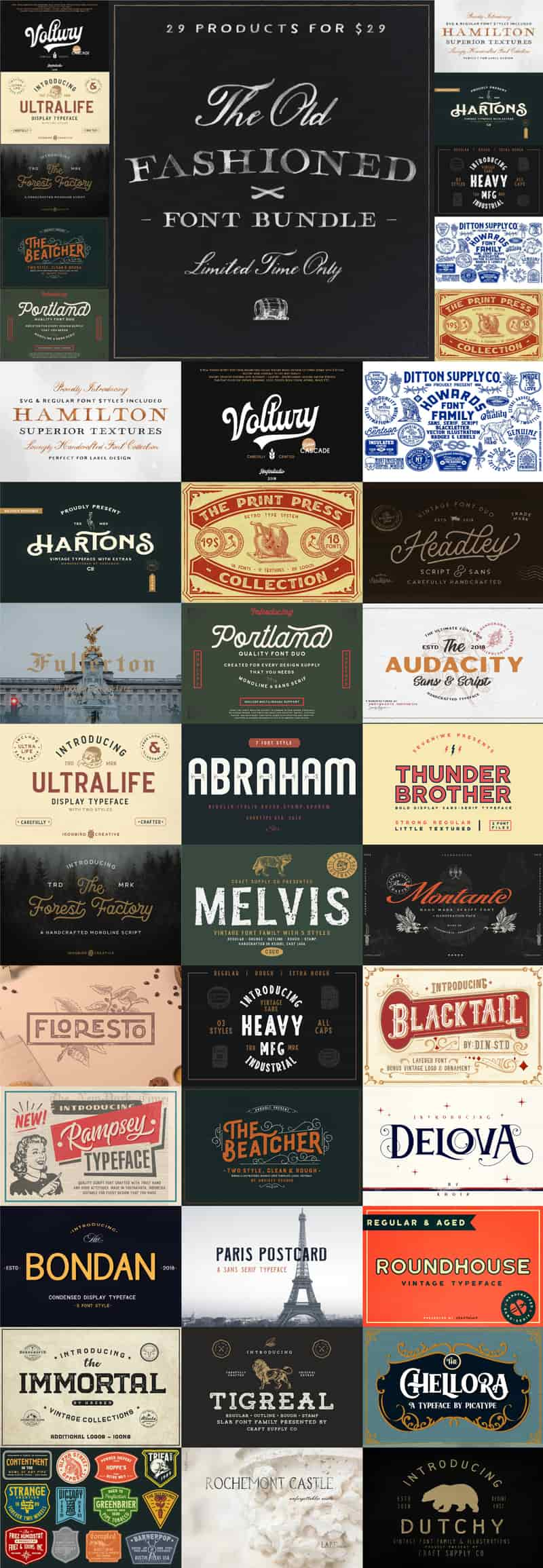 The Old Fashioned Font Bundle