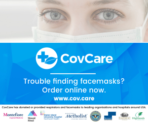 CovCare logo with image of woman wearing face mask.